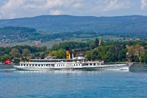 S/S Simplon vu du S/S Savoie, en route pour la parade navale 2012 à Morges